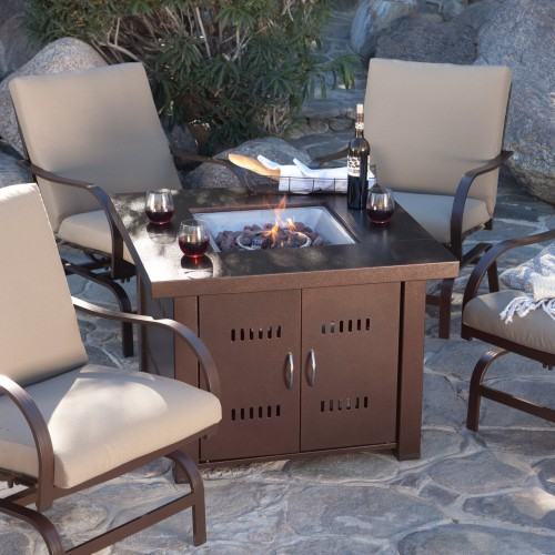 Glow Warm 14kw Outdoor Propane Gas Table Fire Pit in Bronze & Black