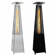 Real Flame Pyramid Outdoor Patio Heater in Stainless Steel or Black